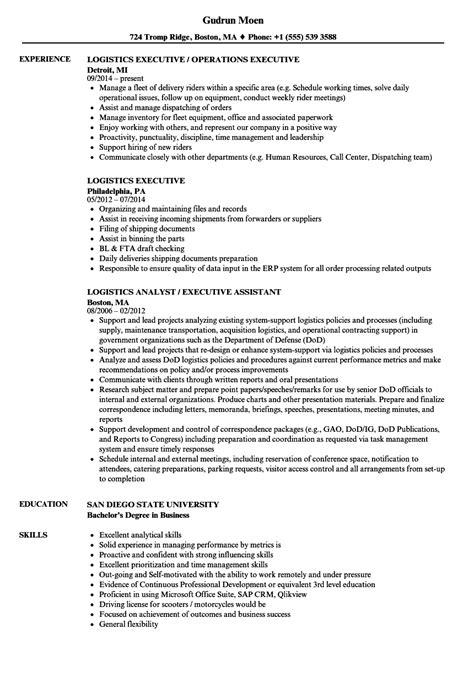 executive resume format exles logistics executive resume sles velvet