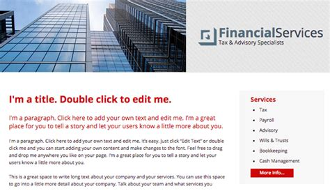 Journalist Wix Template Wix Business Template Financial Services Template