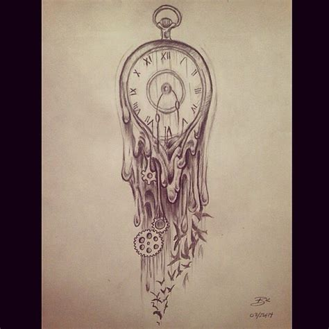 melting clock tattoo meaning collection of 25 melting clock drawing