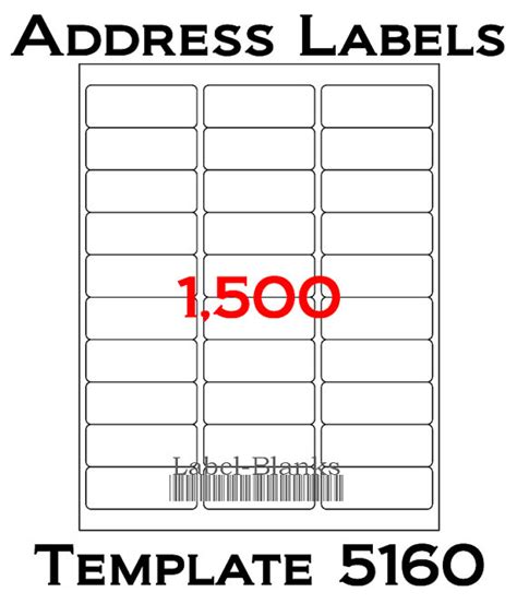 avery address label template laser ink jet labels 50 sheets 1 x 2 5 8