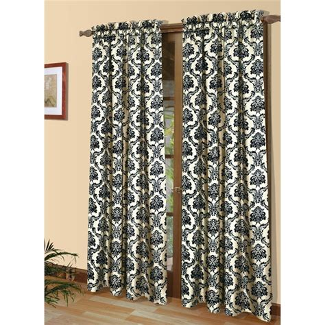 black and ivory curtains commonwealth sumatra 84 quot pole top curtain panel in black