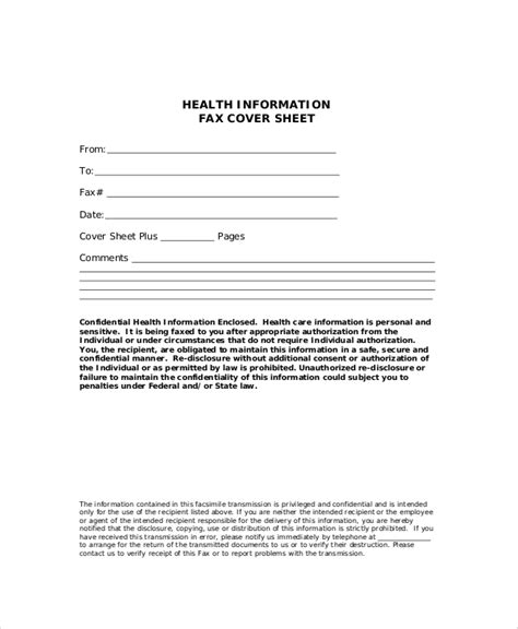 9 Generic Fax Cover Sheet Sles Sle Templates Generic Fax Template