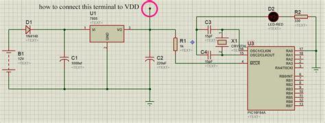 microcontroller connecting  vdd terminal  proteus