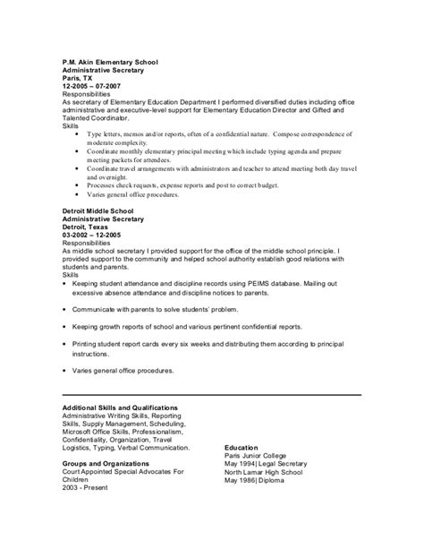 Peims Clerk Cover Letter by Resume For Middle School Principal