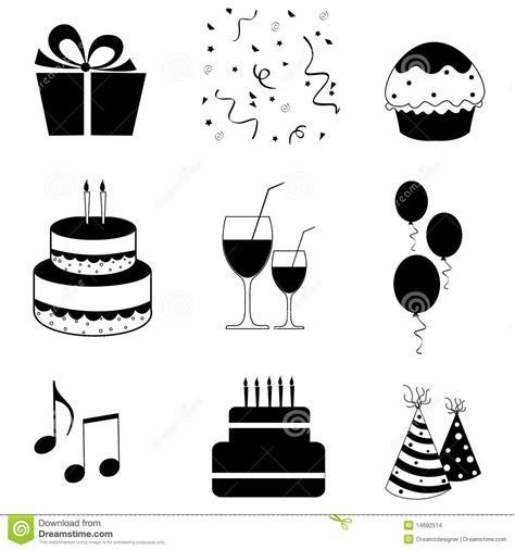 imagenes blanco y negro de cumpleaños vector de los iconos del partido imagenes de archivo