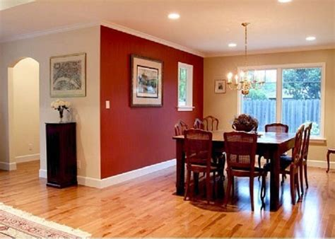 painting small dining room with merlot red accent wall