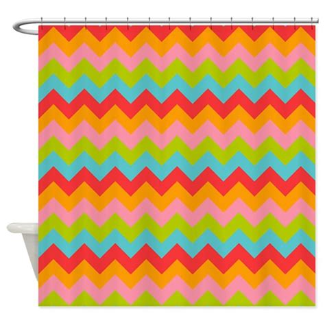 bright colored chevron pattern shower curtain by patternedshop
