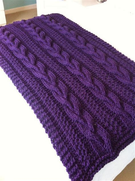 purple cable knit throw chunky braided cable knit blanket by