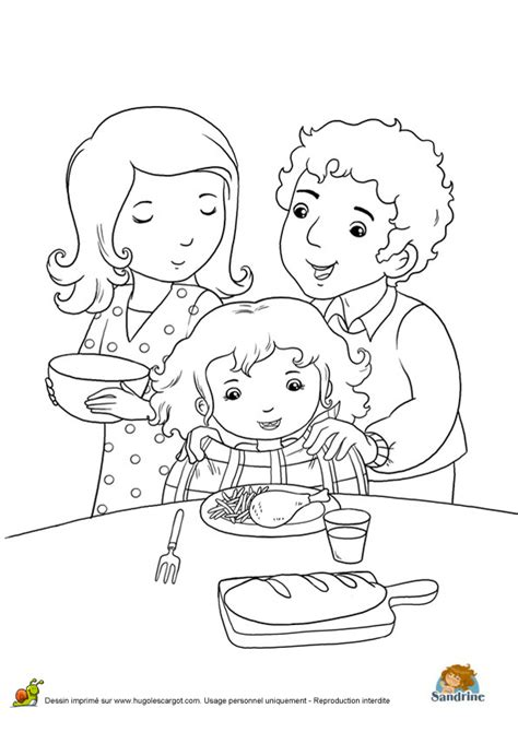 Coloriage Repas Famille A Sur Hugolescargot Com L L L