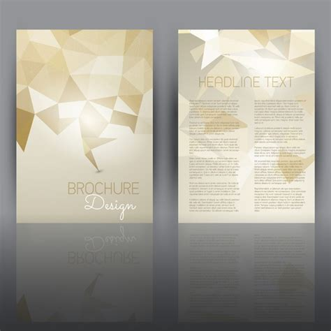 double sided flyer template with a low poly design vector