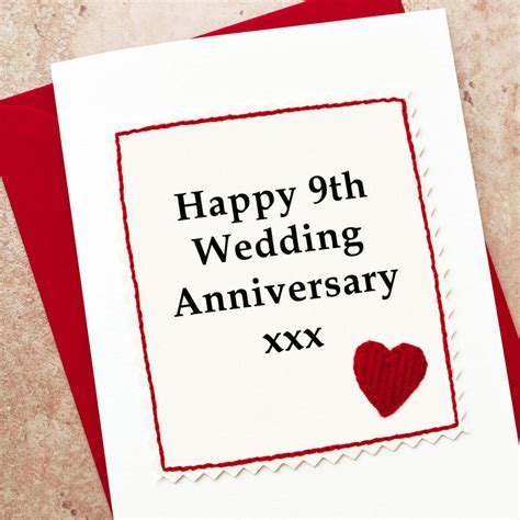 Wedding Anniversary Gift Card by Handmade 9th Wedding Anniversary Card By Arnott