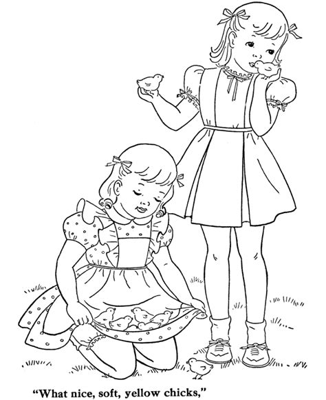 vintage baby coloring pages bluebonkers girl coloring pages girls with baby chicks