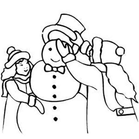 girl snowman coloring page girl dressing snowman with hat coloring page