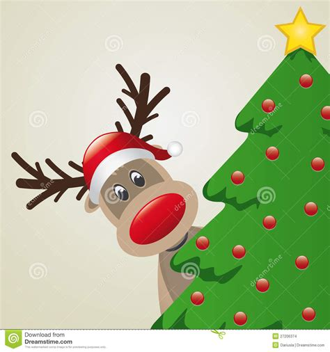 reindeer behind christmas tree stock images image 27206374
