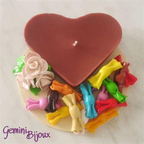 candela a cuore candela a cuore con caramelle di fimo per la casa e per