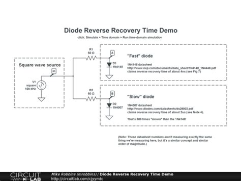 diode recovery time test circuit diode recovery time demo circuitlab