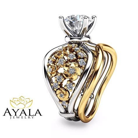unique white and yellow gold engagement rings 14k