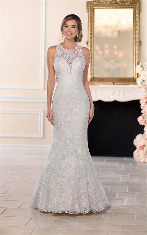 lace wedding dresses feminine sheer lace wedding gown