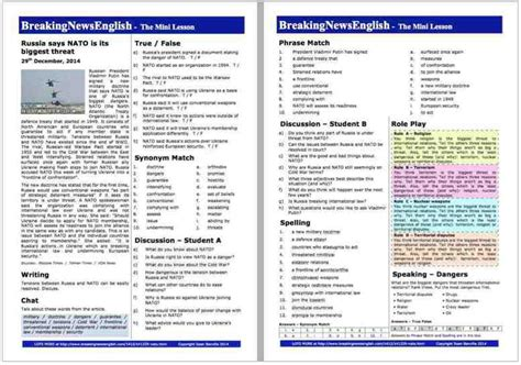breaking news english english news readings level 5 breaking news english 2 page mini lesson russia and nato