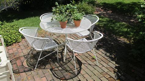 Furniture vintage patio furniture and accessories with wrought iron patio set and white round