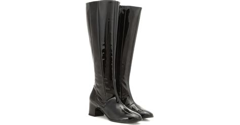 balenciaga patent leather knee high boots in black lyst