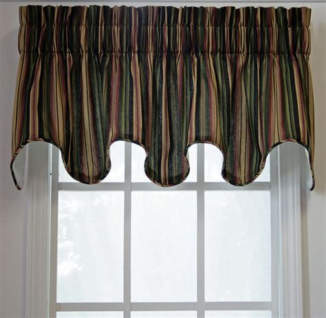 montego stripe lined scalloped valance kitchen valances
