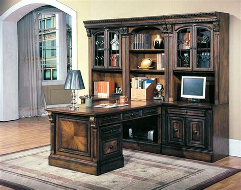 huntington  piece peninsula desk wall unit  chestnut