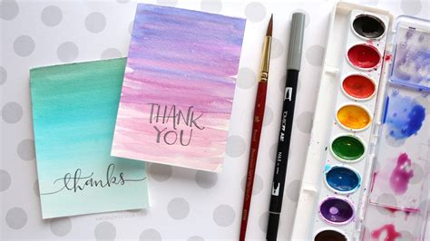 watercolour cards diy easy diy thank you cards ombr 233 watercolor kwernerdesign