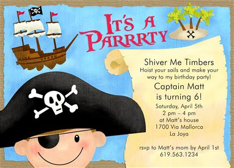 Pirate Birthday Card Template by Pirate Invitations Theruntime