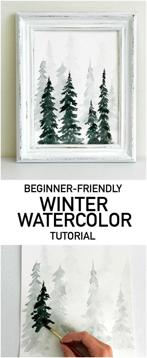 watercolor tutorial christmas watercolor pine trees tutorial how to paint a wintery