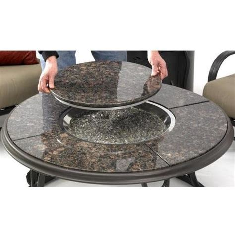 Propane Patio Table 42 Inch Chat Propane Gas Pit Table With Granite Top And Lazy Susan By Outdoor Greatroom