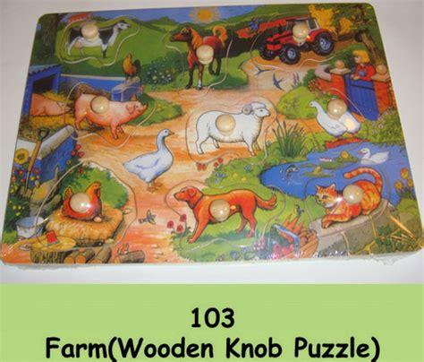 Wooden Knob Puzzles by Wooden Knob Puzzle Quot Farm Quot Educational Toys