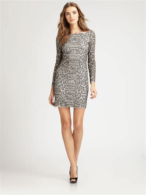 beaded silver dress aidan mattox beaded dress in silver lyst