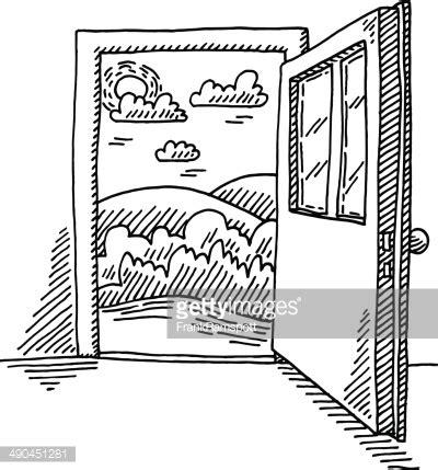 open sketch open door freedom concept drawing vector getty images