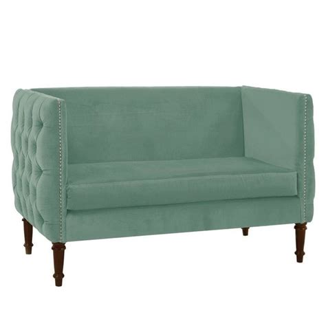 button tufted chaise settee skyline nail button tufted settee loveseat in caribbean