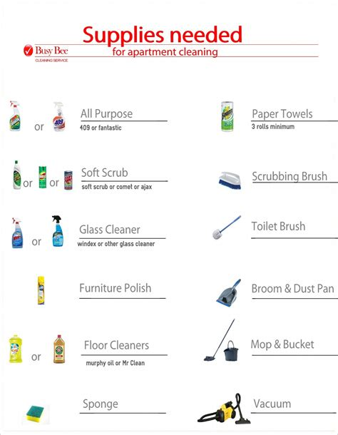 cleaning supplies checklist apartment cleaning supplies list busy bee cleaning service