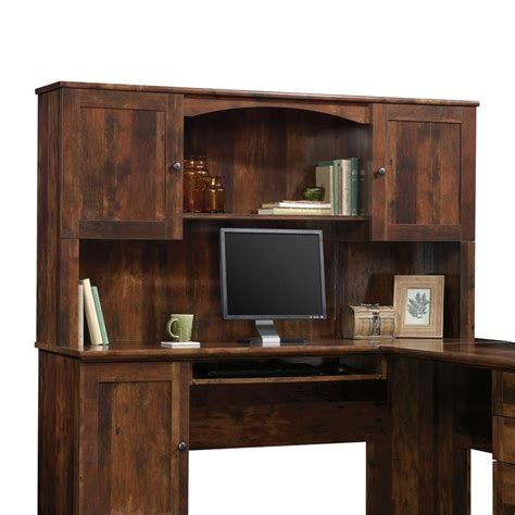 sauder harbor view corner computer desk curado cherry finish sauder harbor view corner computer desk with hutch in