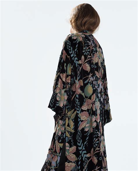 Zara Long Velvet Kimono In Black Lyst