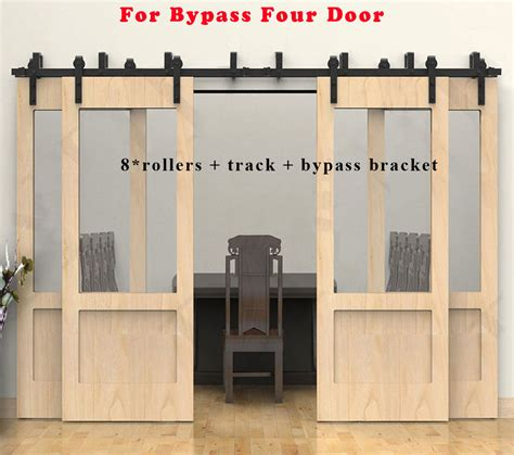 bypass door track 4 20ft wood sliding barn door hardware closet kit single