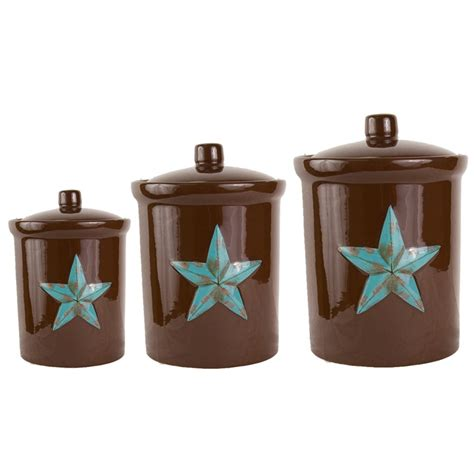 delectably yours com 3 pc western turquoise star canister set by hiend accents