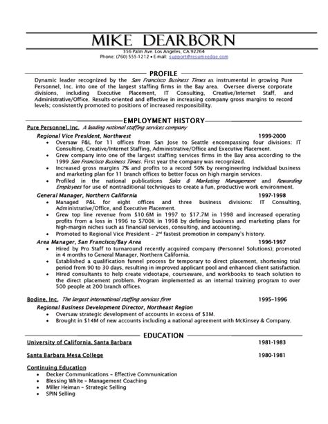Resume Profile Sles For Human Resources Human Resources Executive Resume
