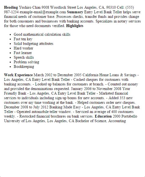 banking resume sle entry level sle resume for bank teller at entry level 28 images