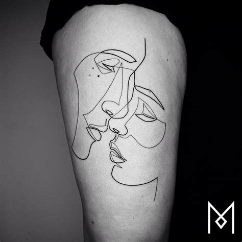 new minimalistic single line tattoos by mo ganji colossal