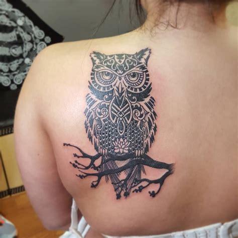 girl owl tattoos black ink tribal owl on branch on left back
