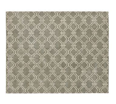 putting two rugs together scroll tile rug gray potterybarn put in both dining room and living room to tie the rooms