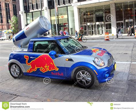 xs energy drink car wrap bull mini cooper editorial stock photo image of back