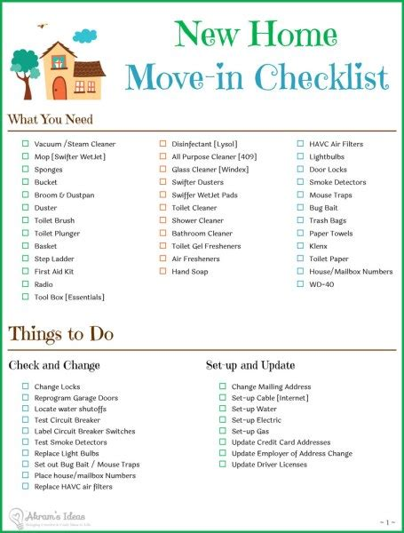 Checklist Essentials Setting Up House | amusing new home checklist best 25 new home checklist