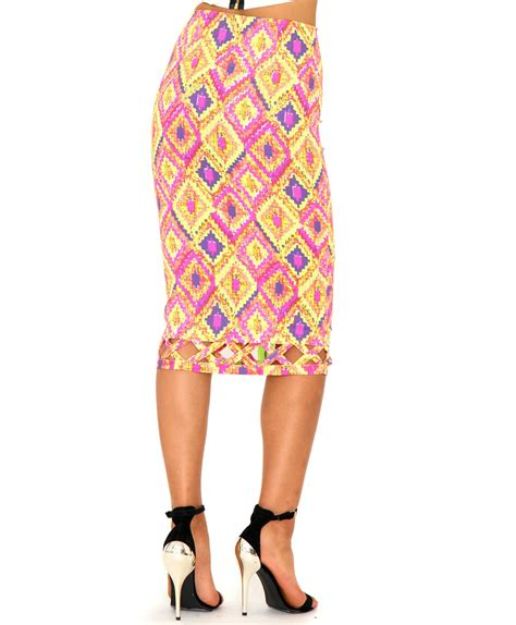missguided danute neon aztec cut out midi skirt in