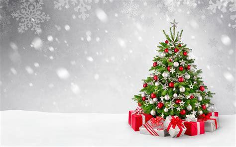 wallpaper christmas tree decoration presents gifts snowfall  celebrations