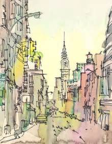 new york sketch chrysler building new york city print from